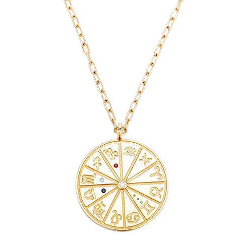 Zodiac Family Circle Medallion Pendant Necklace