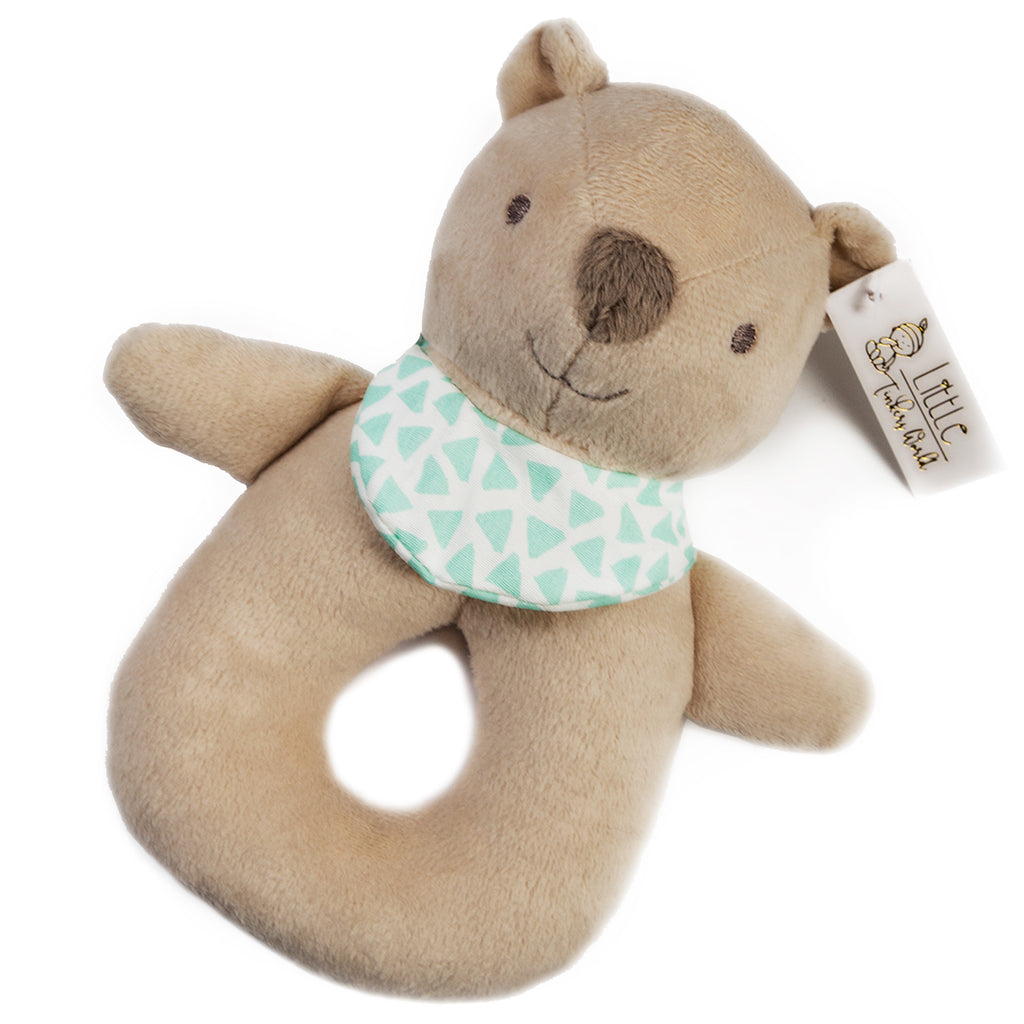 Baby Bear Security Blanket with Cute Stuffed Bear Baby Rattle