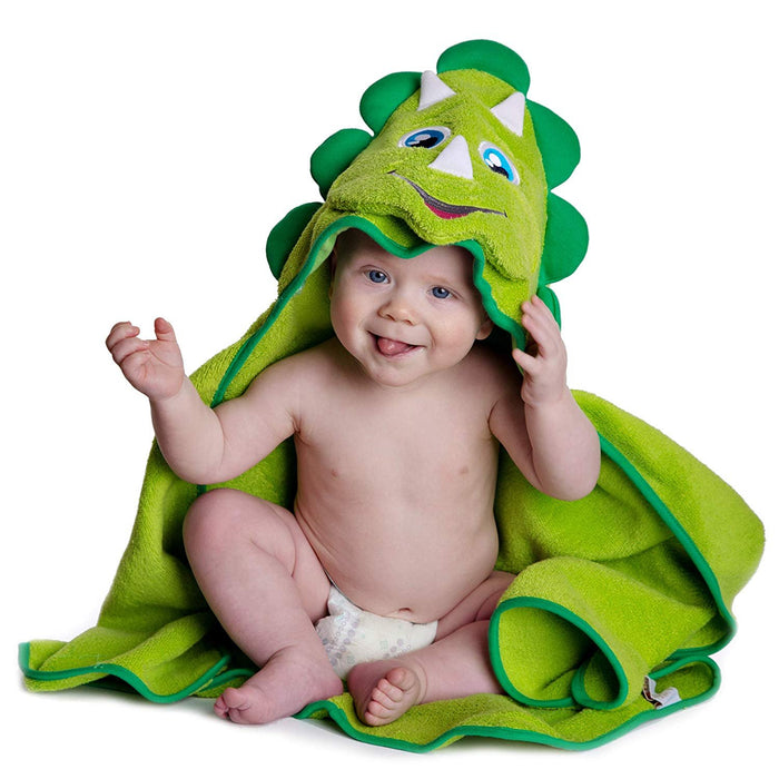 Hooded Baby Towel Dinosaur by Little Tinkers World Natural Cotton Soft and Absorbent Bath Towels with Hood for Babies, Toddlers, Perfect Baby Shower Gift