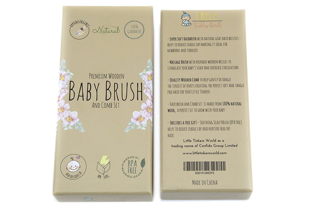 Alt = Wooden baby brush close up of packaging