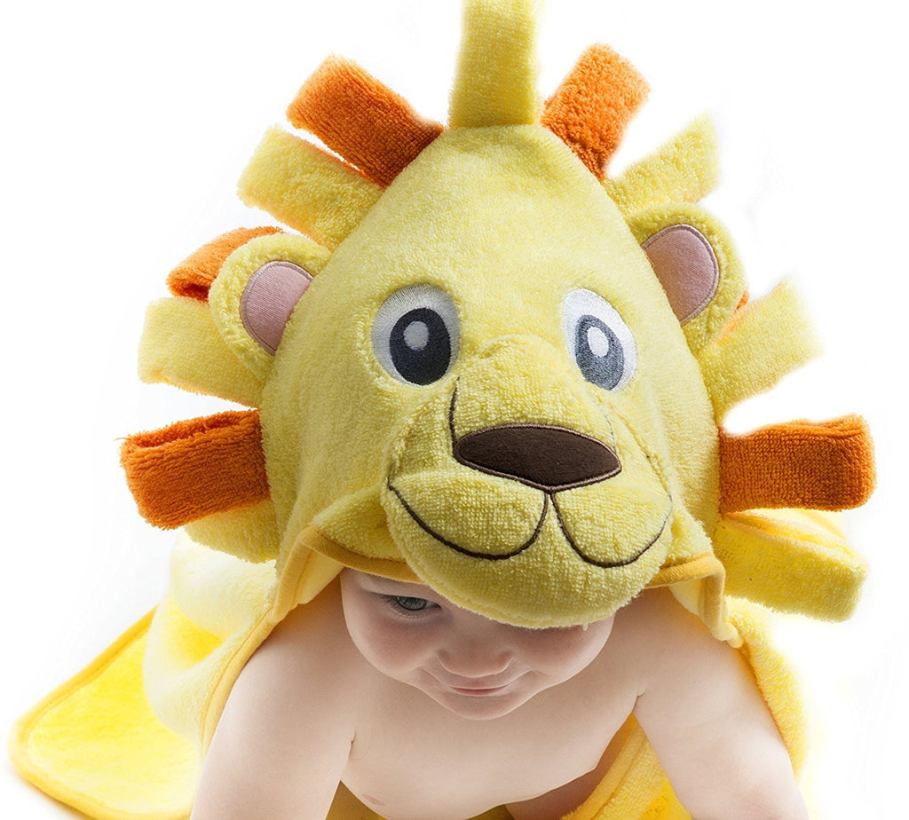 Alt = Close up of Lion hood on Lion hooded towel