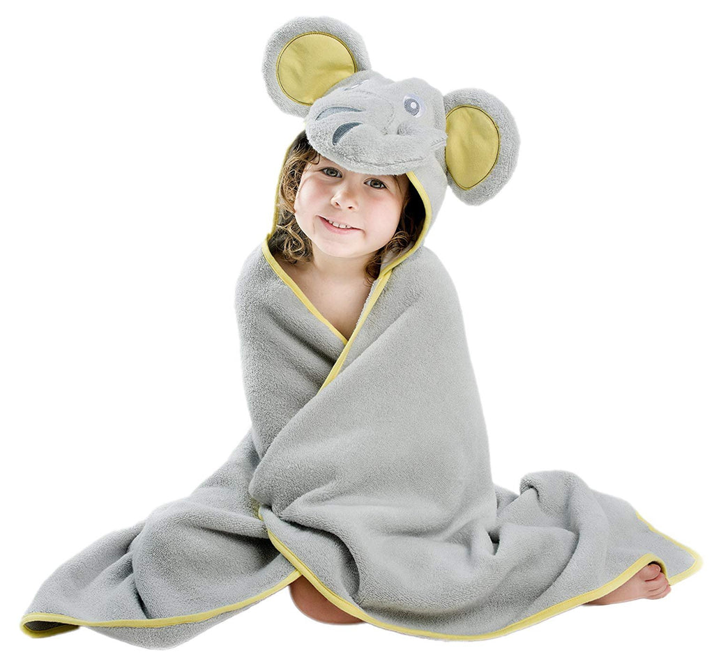 ALT = Toddler girl sitting with Elephant hooded towel wrapped around