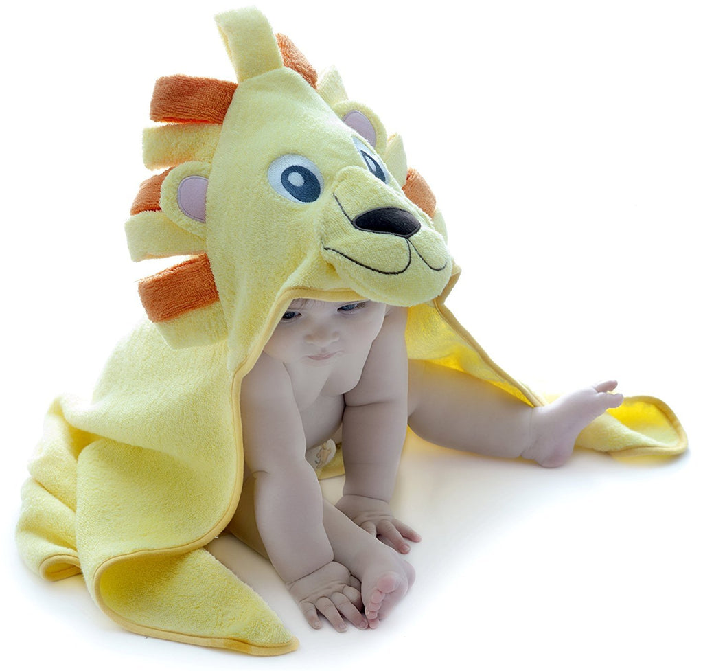 Alt = Baby leaning forward wearing Lion hooded towel