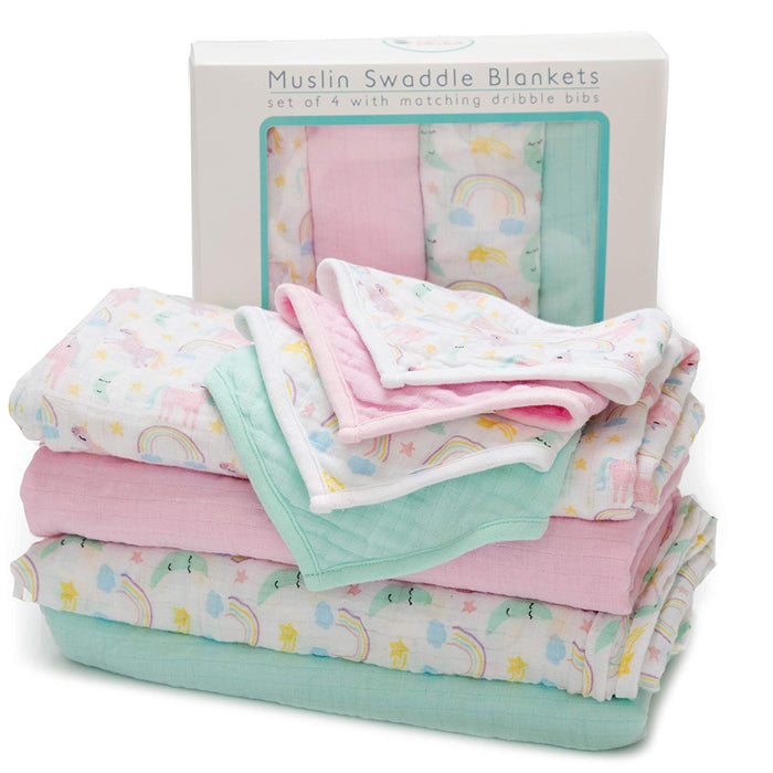 Baby Muslin Swaddle Blankets with Matching Dribble Bibs