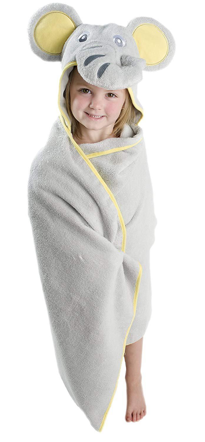 ALT = Toddler girl standing wrapped in Elephant hooded towel