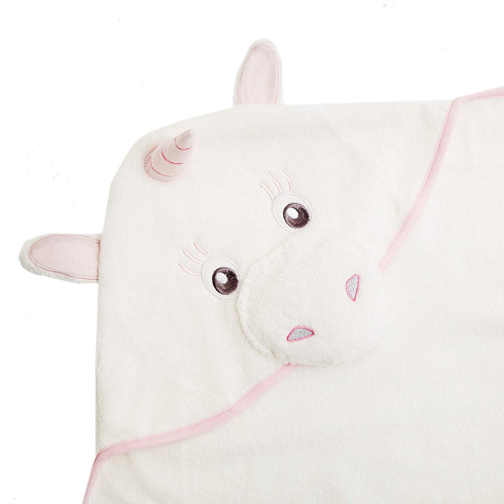 Alt = Close up of Pink unicorn hood on unicorn hooded towel