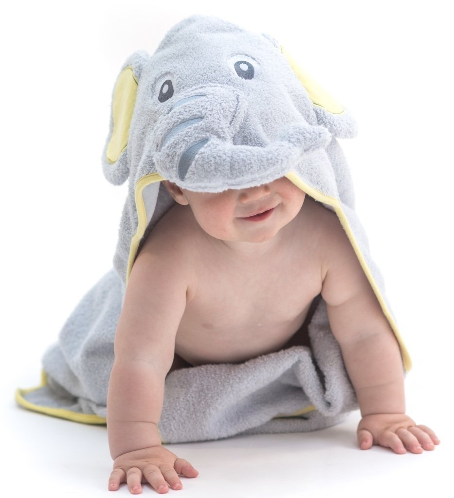 Alt = Baby facing forward wearing hooded towel with elephant hood covering face