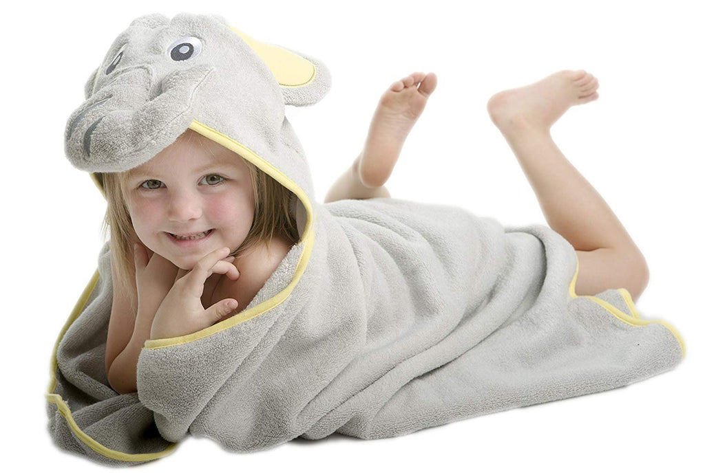 ALT = Toddler girl lying on stomach wrapped in Elephant hooded towel