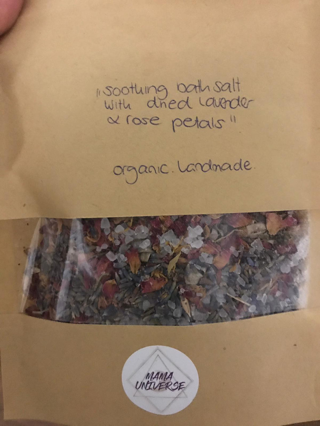 Mama Universe Hydrotherapy: soothing salt Bath Blend lavender rose petals handmade organic