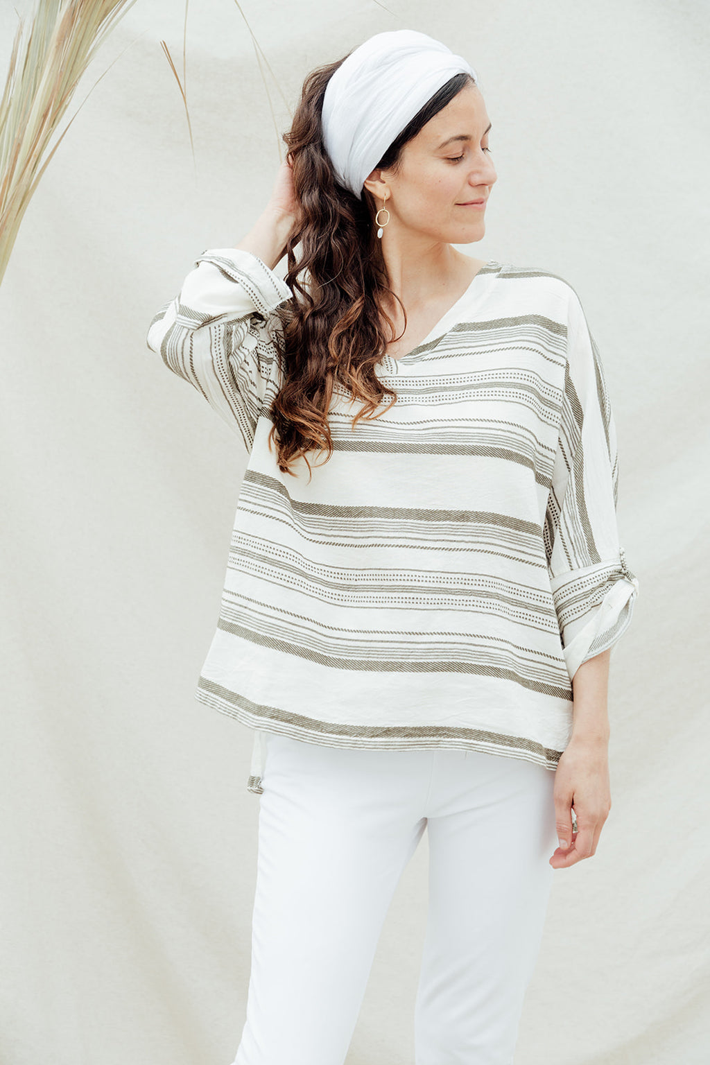 Linen top with stripes