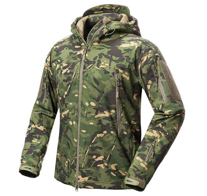 Tactical Snake Camouflage Army Jacket Set Men Military Outdoor Waterproof Softshell Hunting Jackets Fleece Hooded Hking Clothes Low Price Hiking Jackets