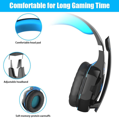EACH G2000 3.5mm Stereo Gaming Headset - Black and Blue
