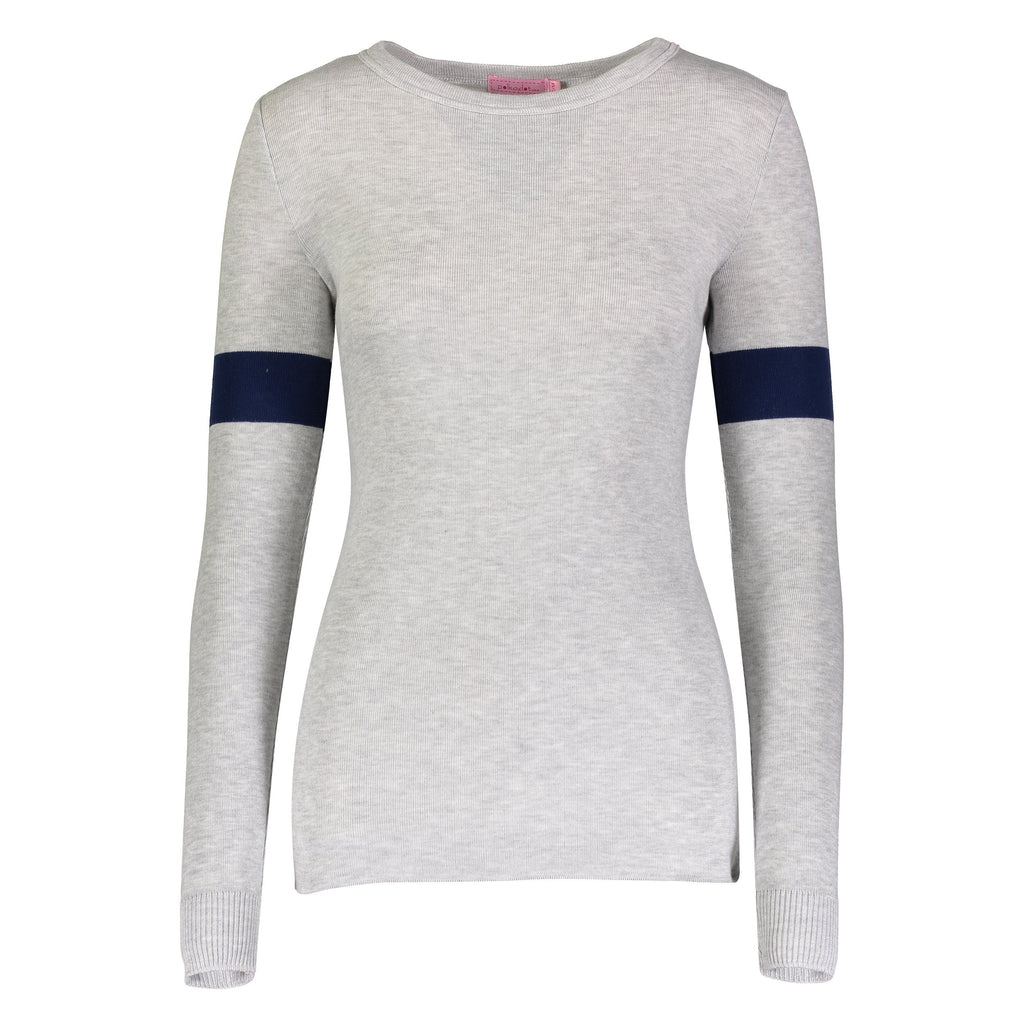 SOPHIA SLOUCHY CREW LS Heather Grey w Navy Sleeve Stripe