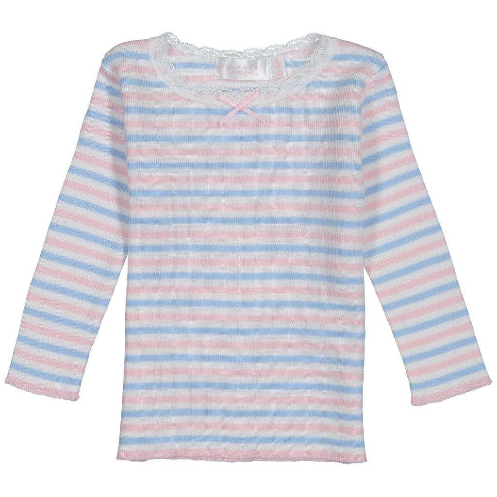 BABY GIRLS PJ CREW LS Pink /Lt Blue /Cream Sailor Stripe w Lace