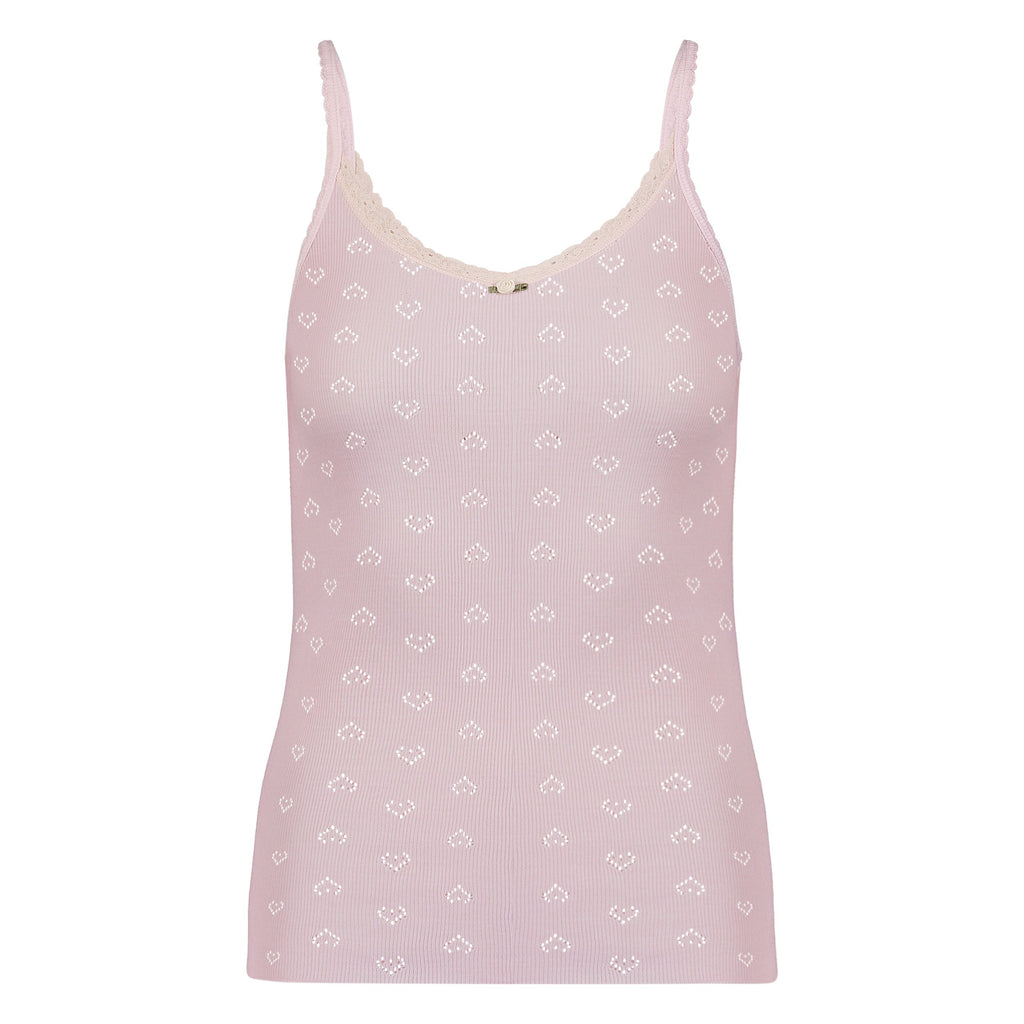 CAMISOLE Shell Pink Vintage Hearts w Cluny Lace