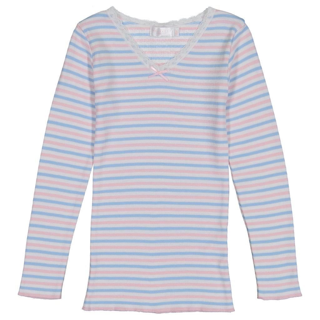 GIRLS V NECK LS TOP Pink /Lt Blue /Cream Sailor Stripe w Lace