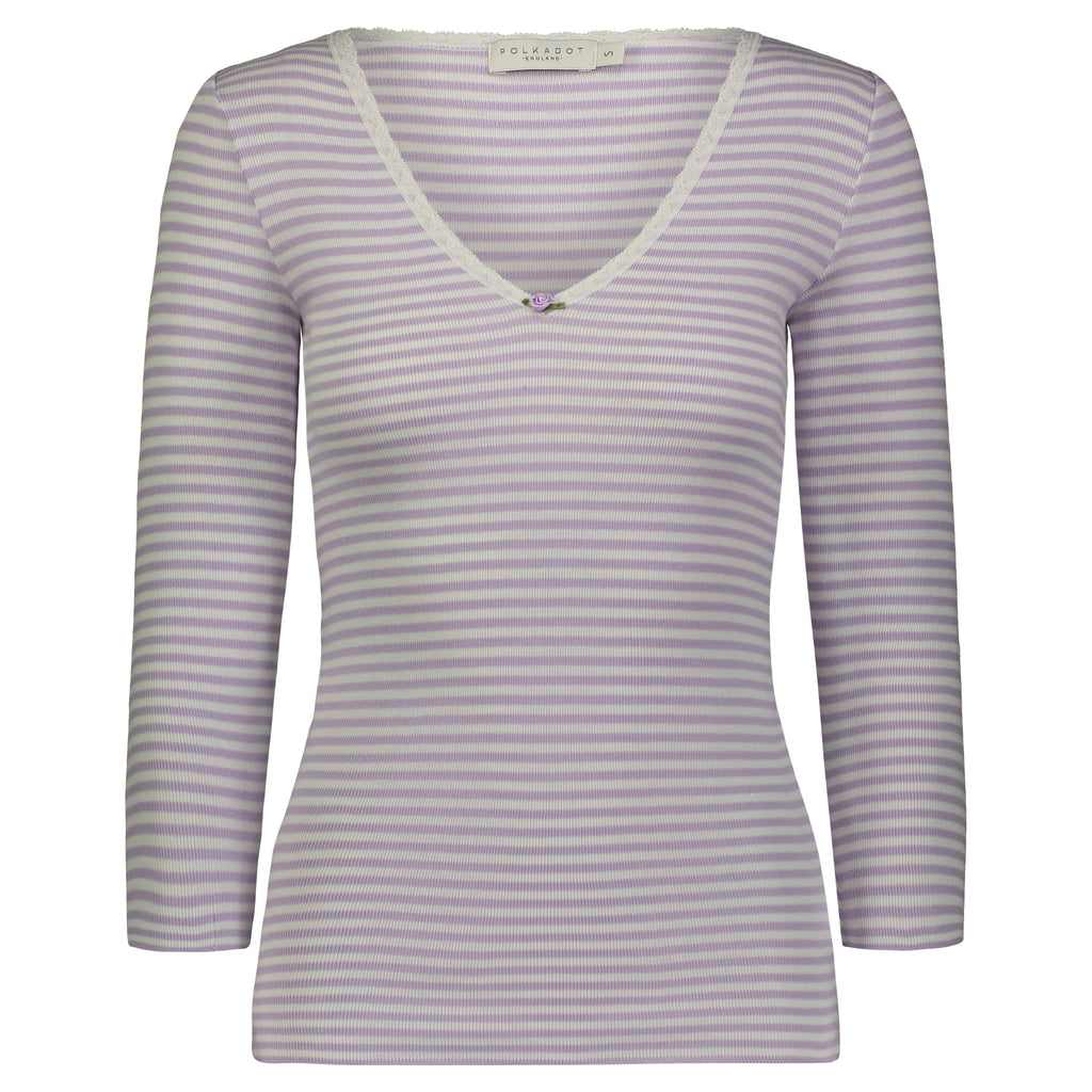 V NECK 3/4 SLEEVE Lilac Sailor Stripe w Lace