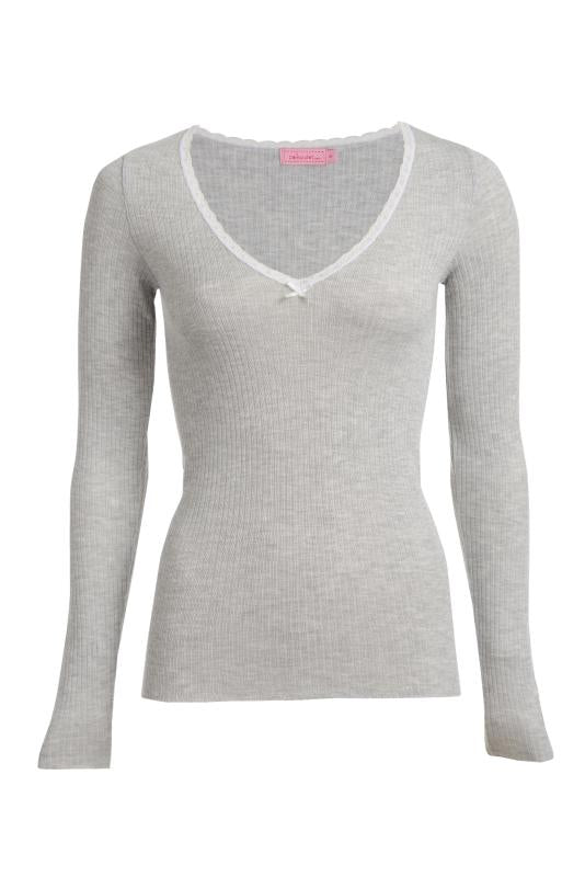 RIB V NECK Long Sleeve Top Heather Grey w Lace