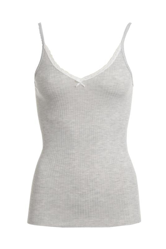 RIB CAMISOLE Heather Grey w Lace
