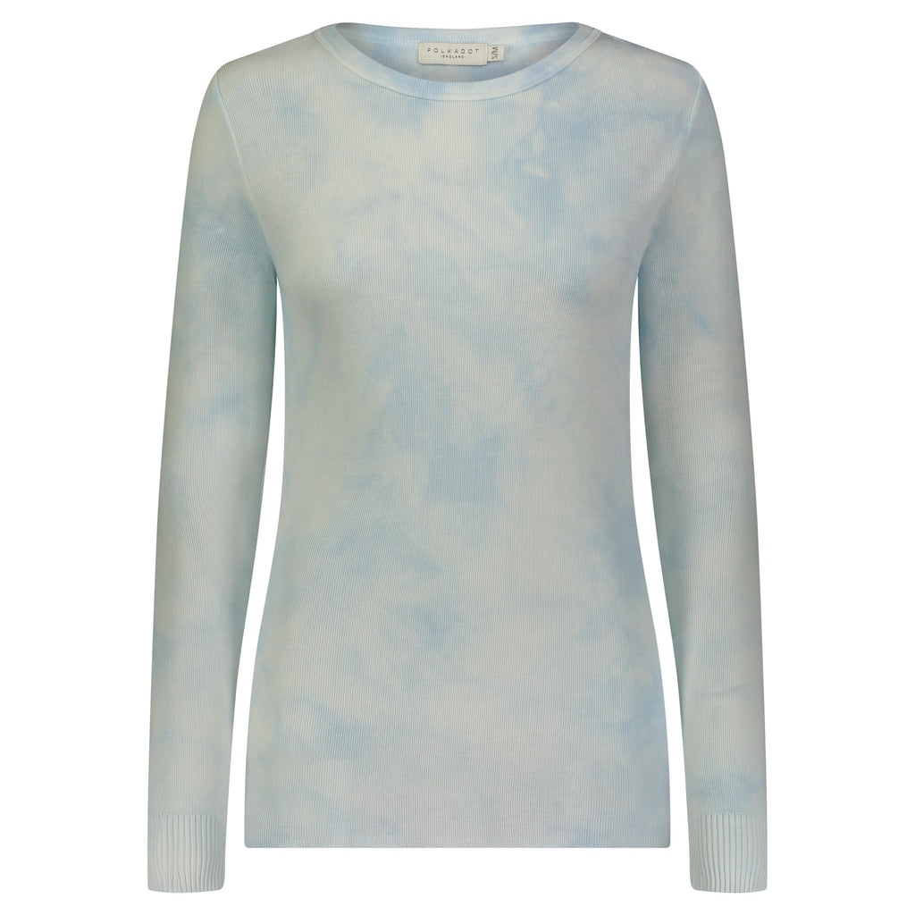 SLOUCHY CREW LS LT BLUE TIE DYE -SOLD OUT