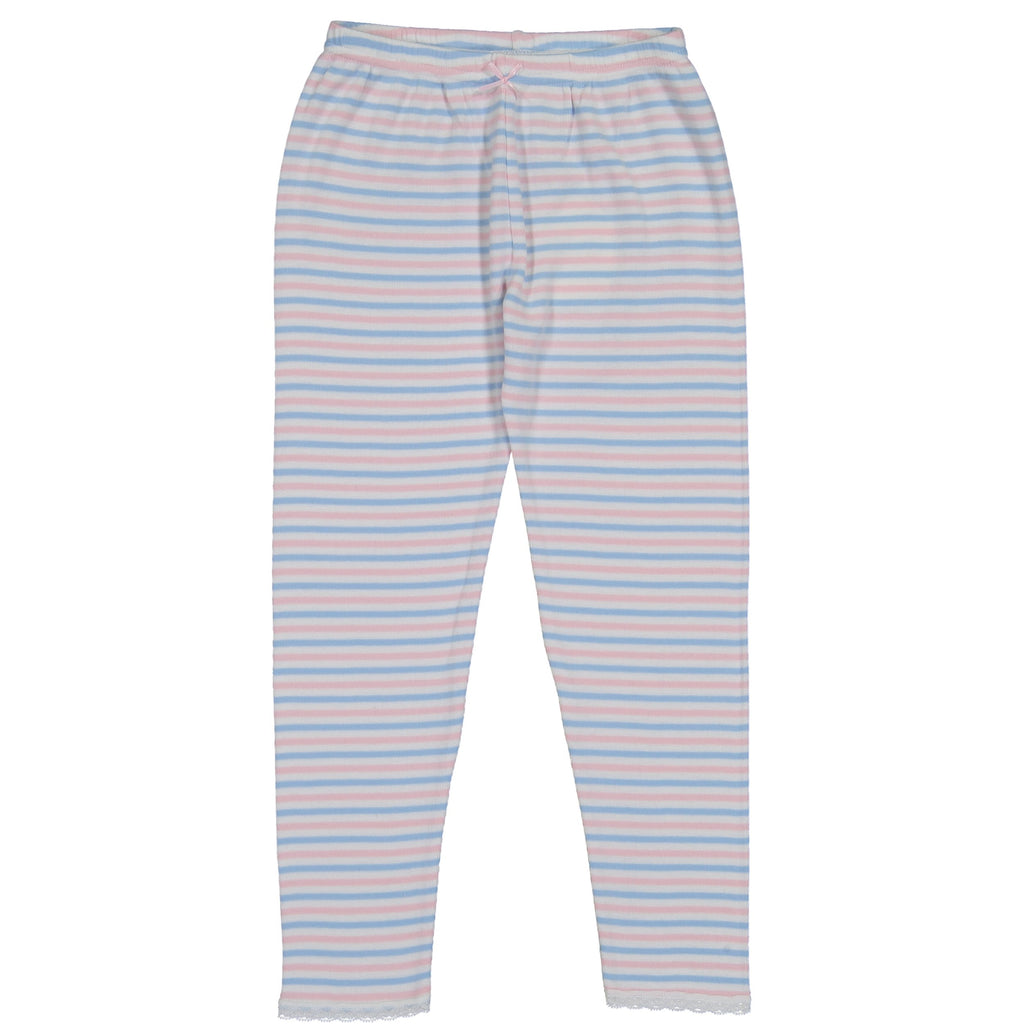 GIRLS PJ PANT Pink /Lt Blue /Cream Sailor Stripe w Lace