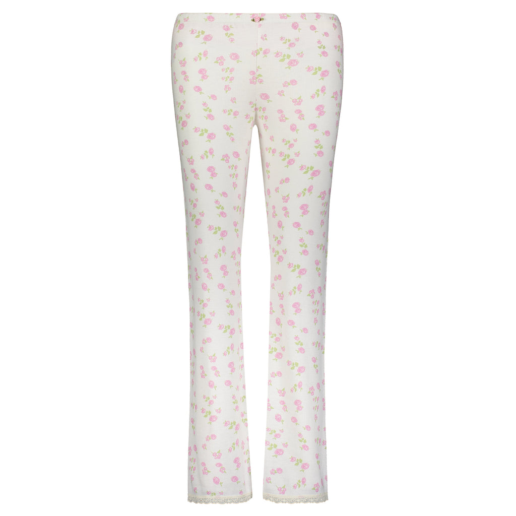 ROSE PRINT PANT w Cluny Lace Hems -IN STOCK