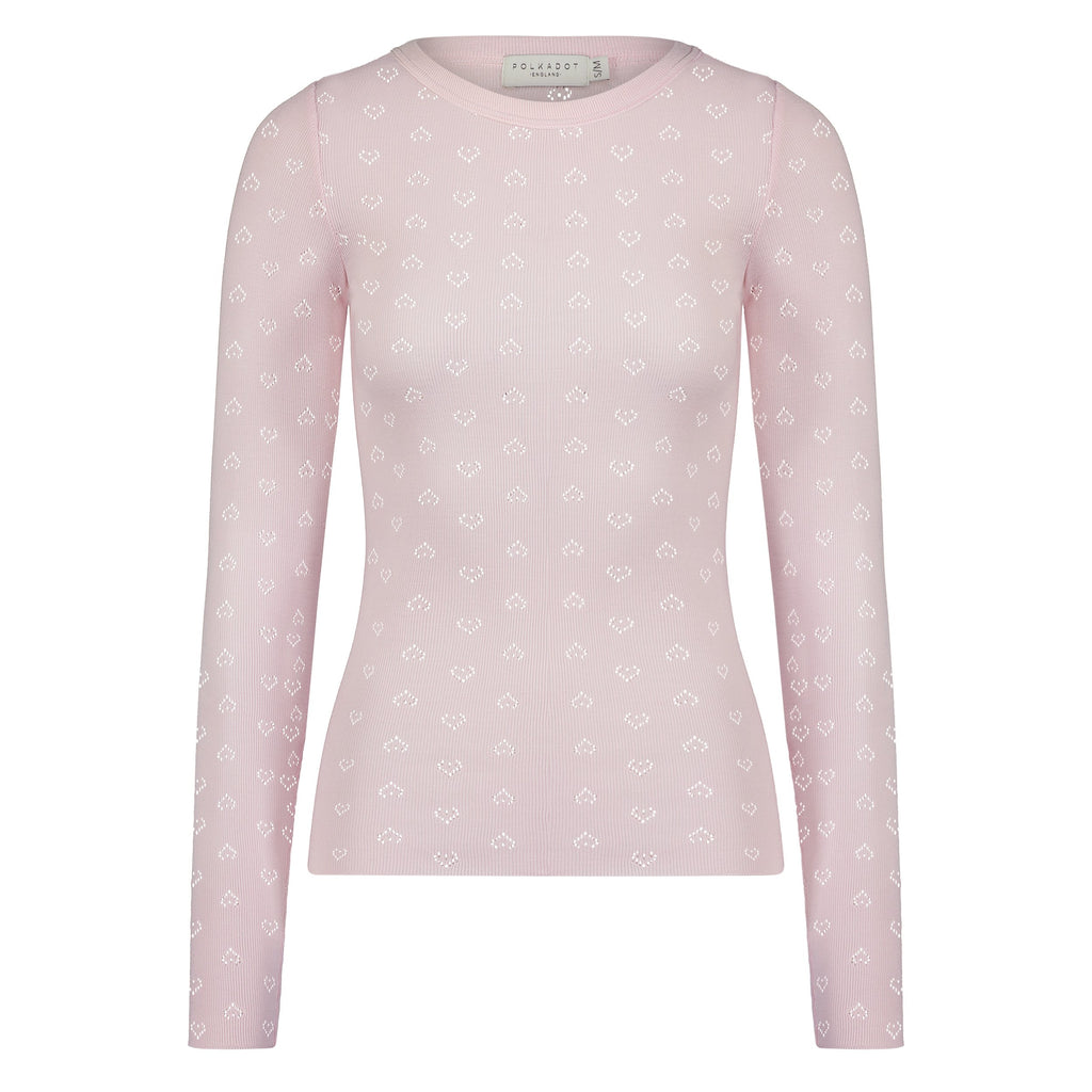 SLOUCHY CREW LS Shell Pink Vintage Hearts -SOLD OUT