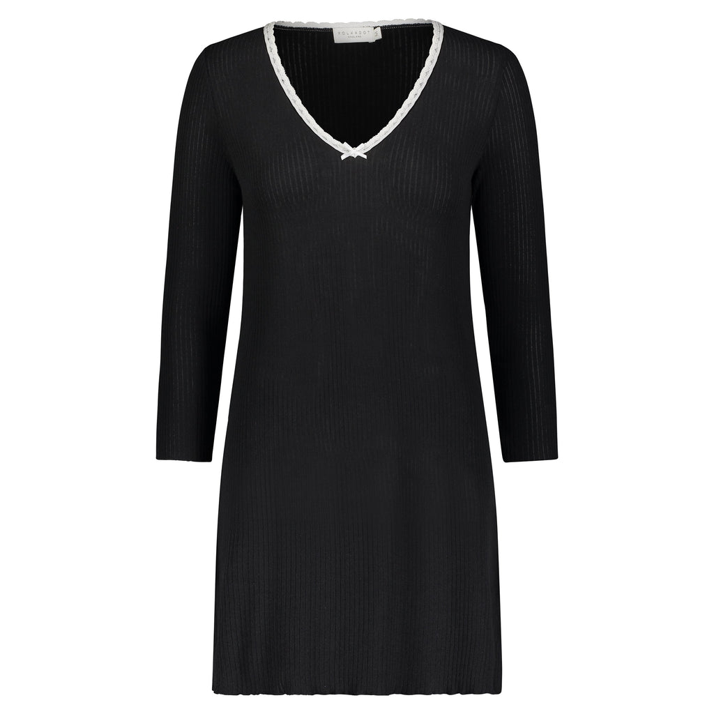 BLACK RIB DRESS V 3/4 SLV w Ivory Lace