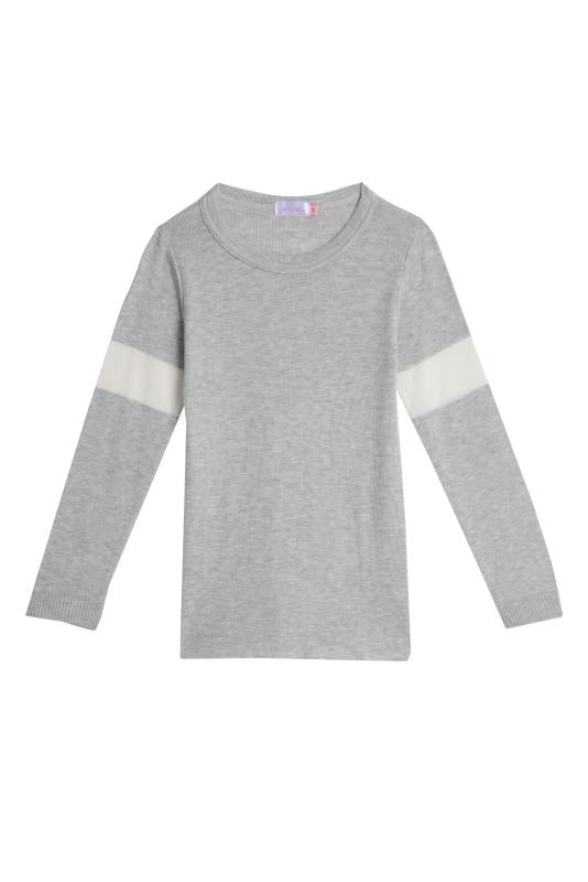 GIRLS SOPHIA SLOUCHY Crew LS Heather Grey w Cream