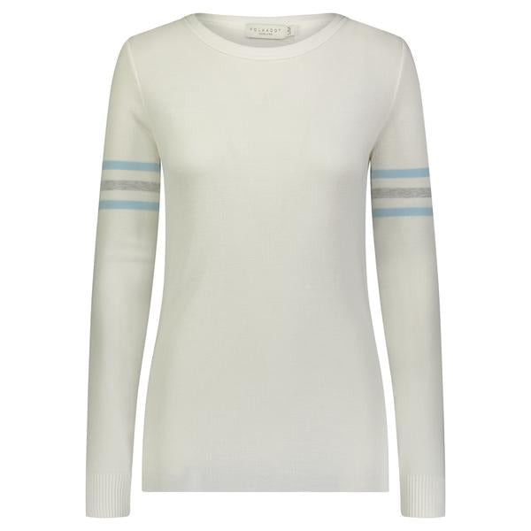 SOPHIA SLOUCHY CREW Cream w Blue/Cream/Grey Sleeve Stripe