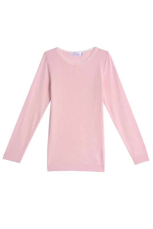 GIRLS CREW NECK LS Pink Vintage Hearts w Lace