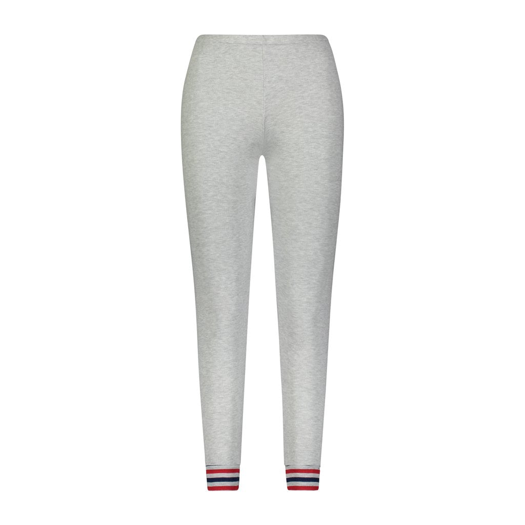 JOGGER Heather Grey w Red and Navy Stripe Cuffs