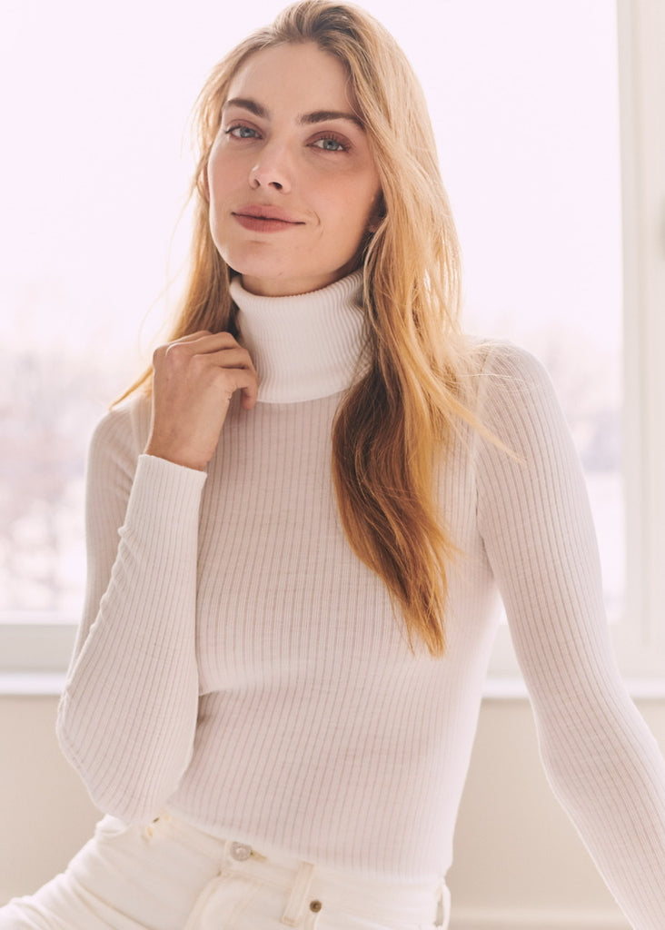 TURTLENECK LS PEARL WHITE Rib Knit