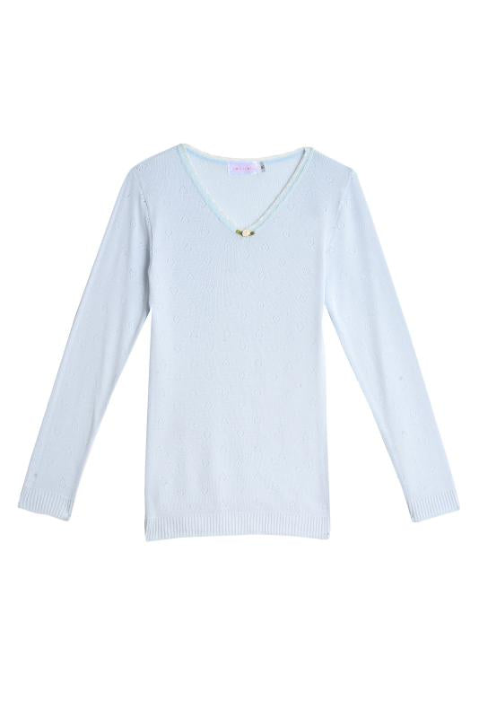 GIRLS V NECK LS Lt Blue Vintage Hearts w Lace