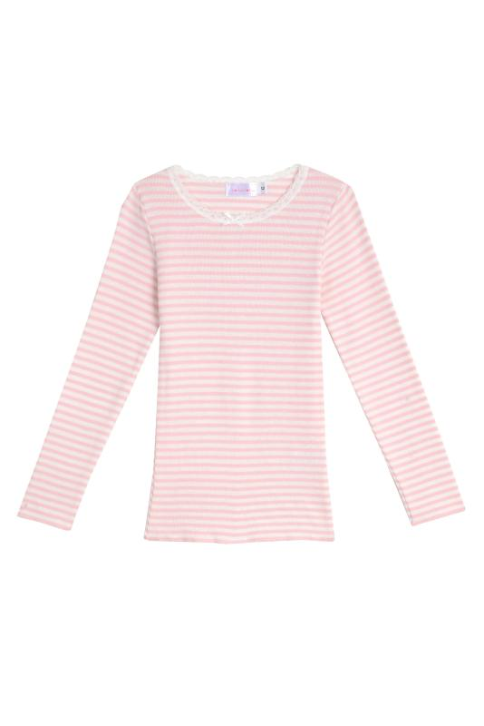 GIRLS PJ CREW LS Pink Sailor Stripe w Lace
