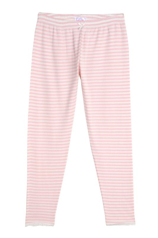 GIRLS PJ PANT Pink Sailor Stripe w Lace
