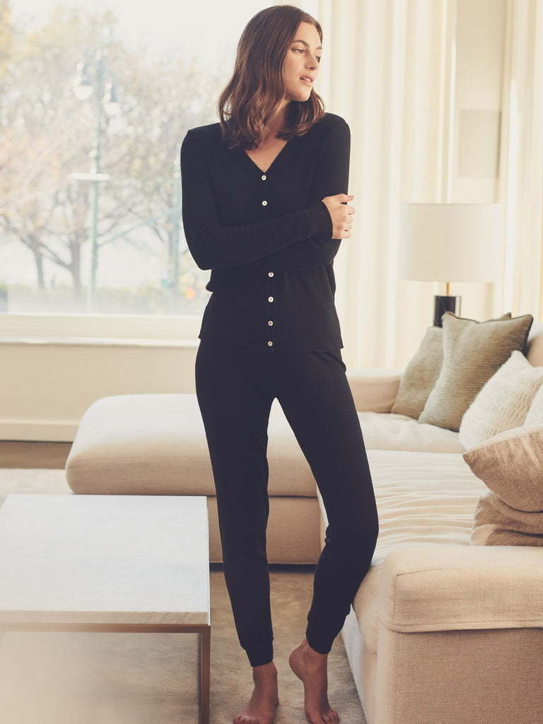 JANE SLOUCHY RIB PJ SET ~ BLACK