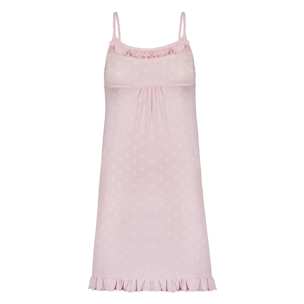 RUFFLE CHEMISE Shell Pink Vintage Hearts