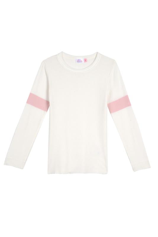 GIRLS SOPHIA SLOUCHY CREW LS Cream w Pink Stripe