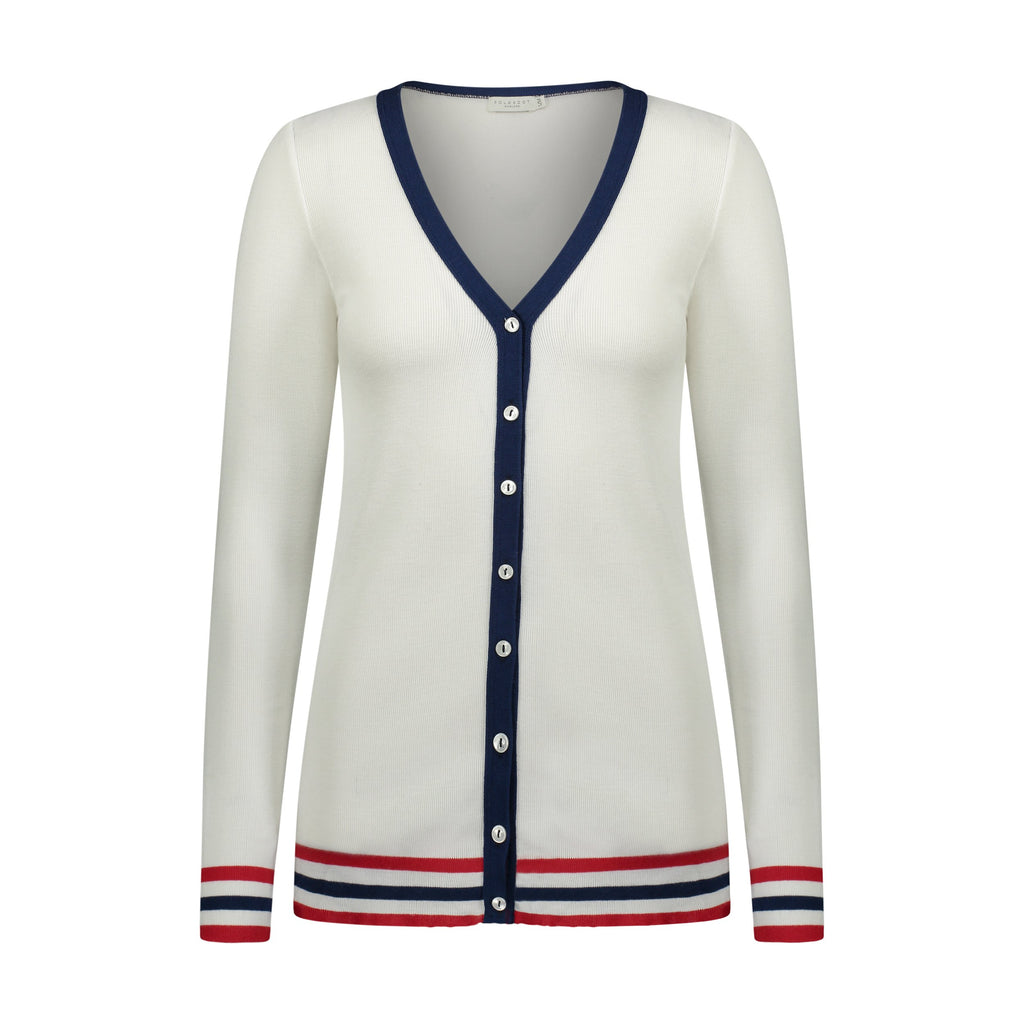 CARDIGAN Cream w Red/Navy