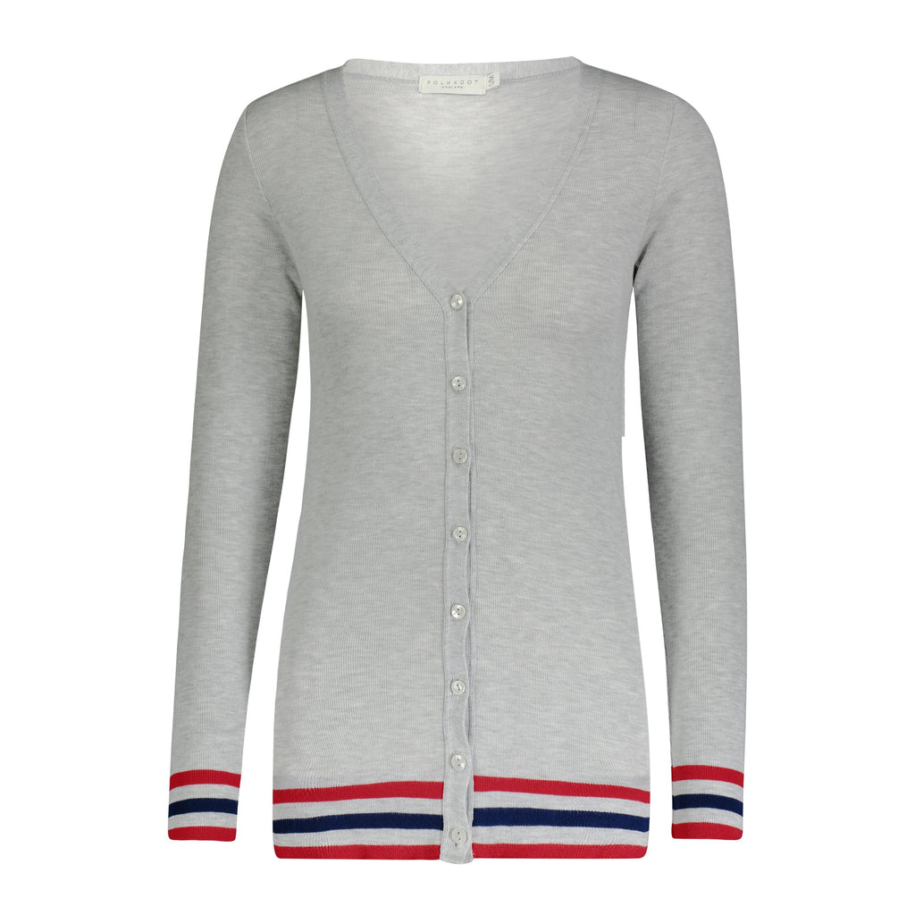 CARDIGAN V LS HEATHER GREY w Red/Navy -IN STOCK