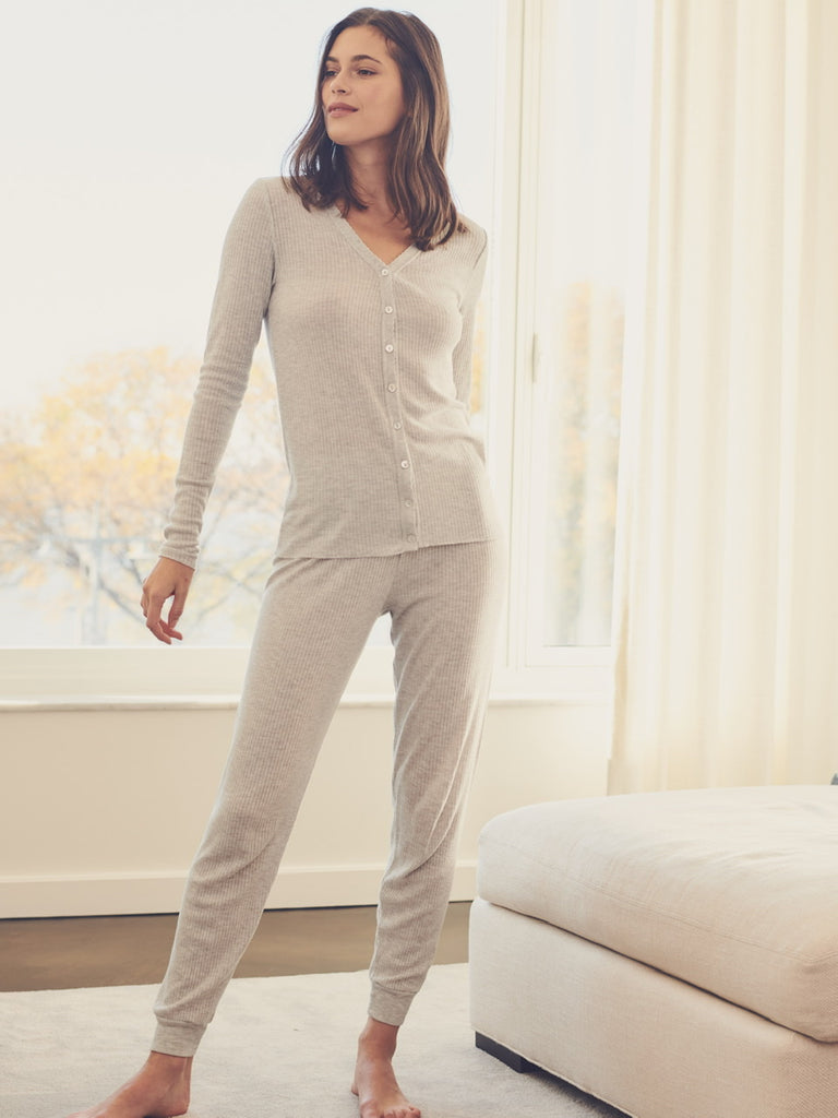 JANE SLOUCHY RIB PJ SET ~ HEATHER GREY