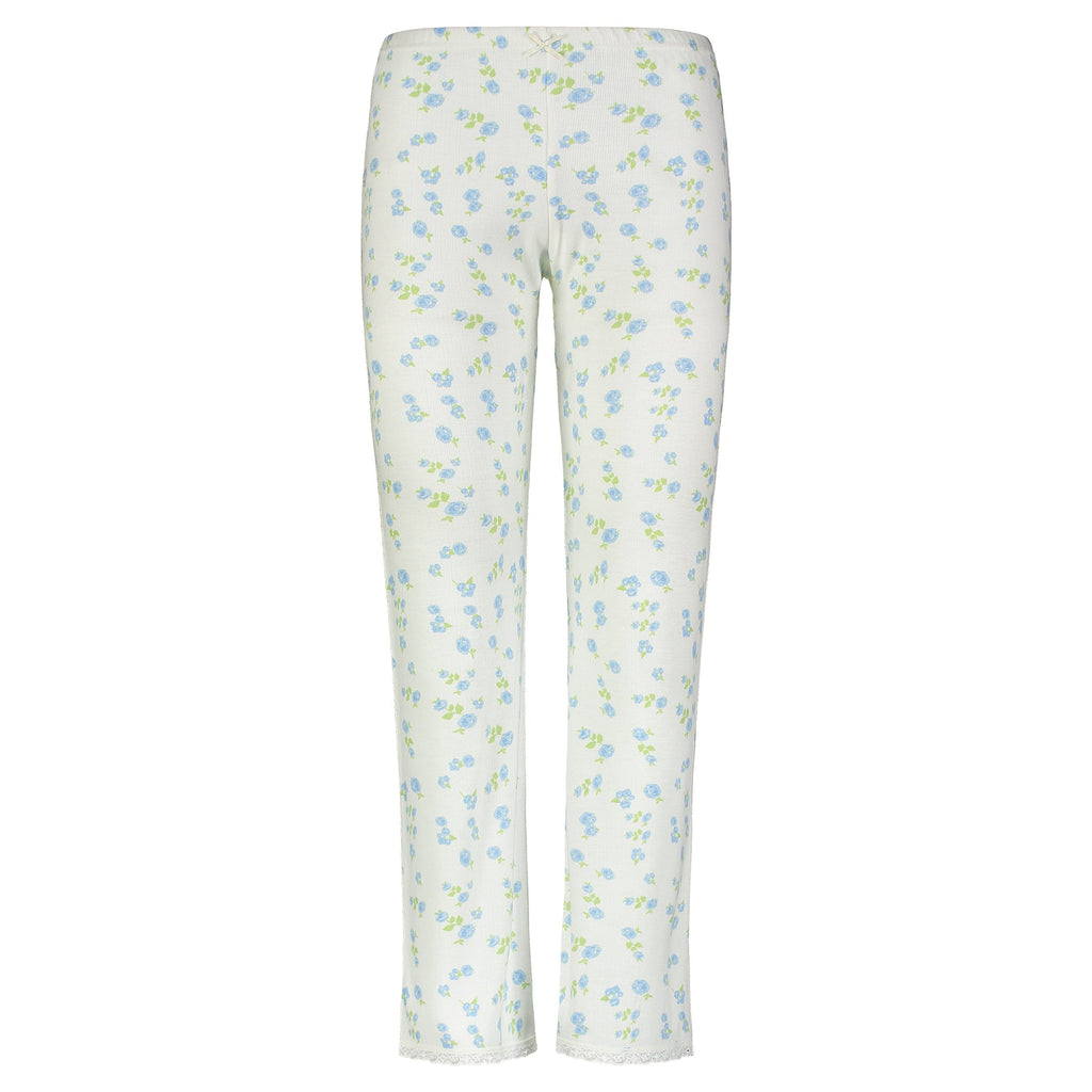 PANT BLUE FLORAL w Cluny Lace Hems