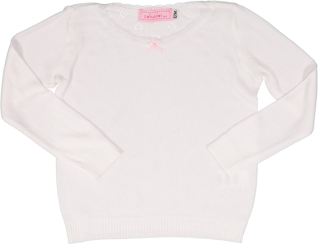 GIRLS PJ CREW LS Pearl White Vintage Hearts w Lace