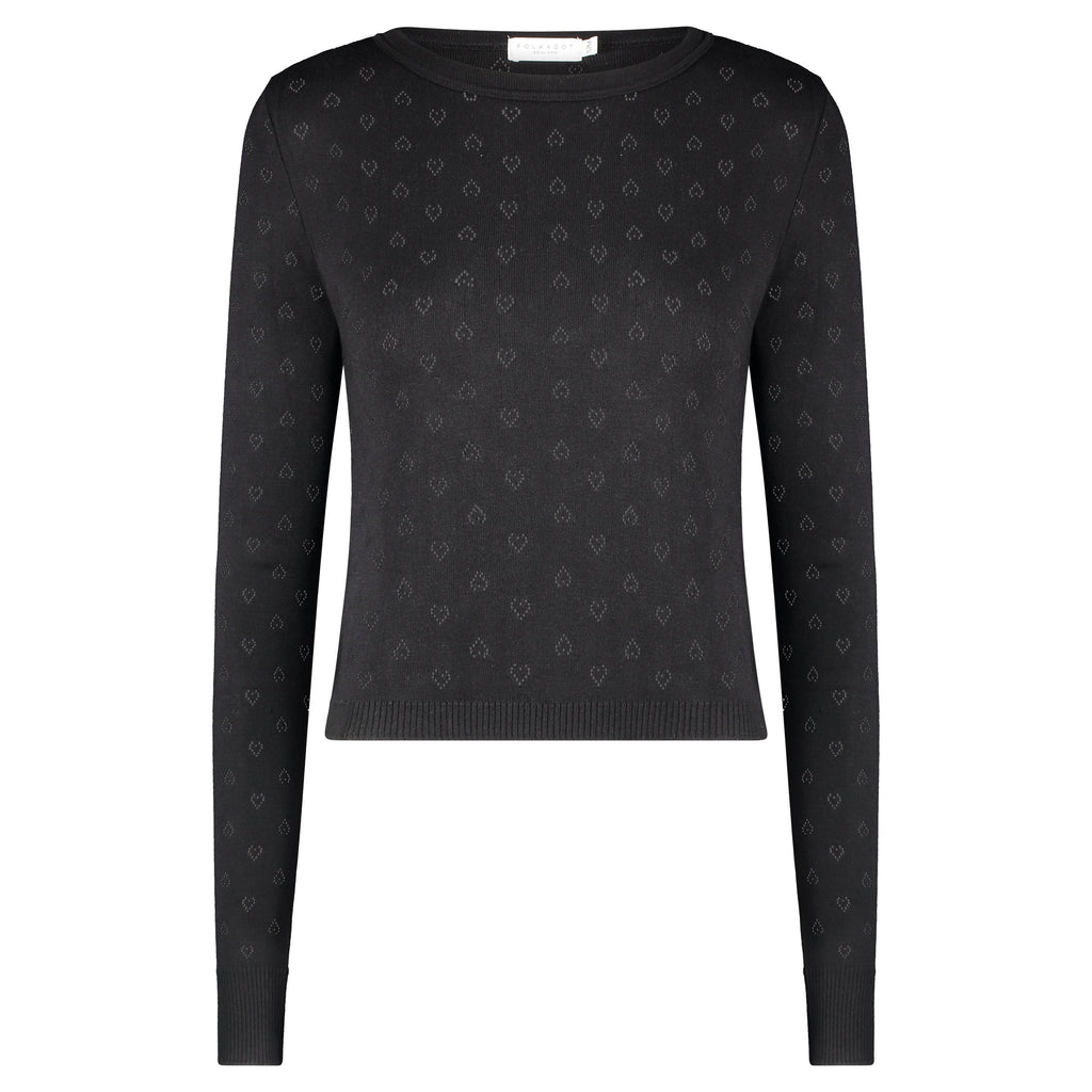 PARKER CROP SLOUCHY Crew LS Hearts Pointelle BLACK