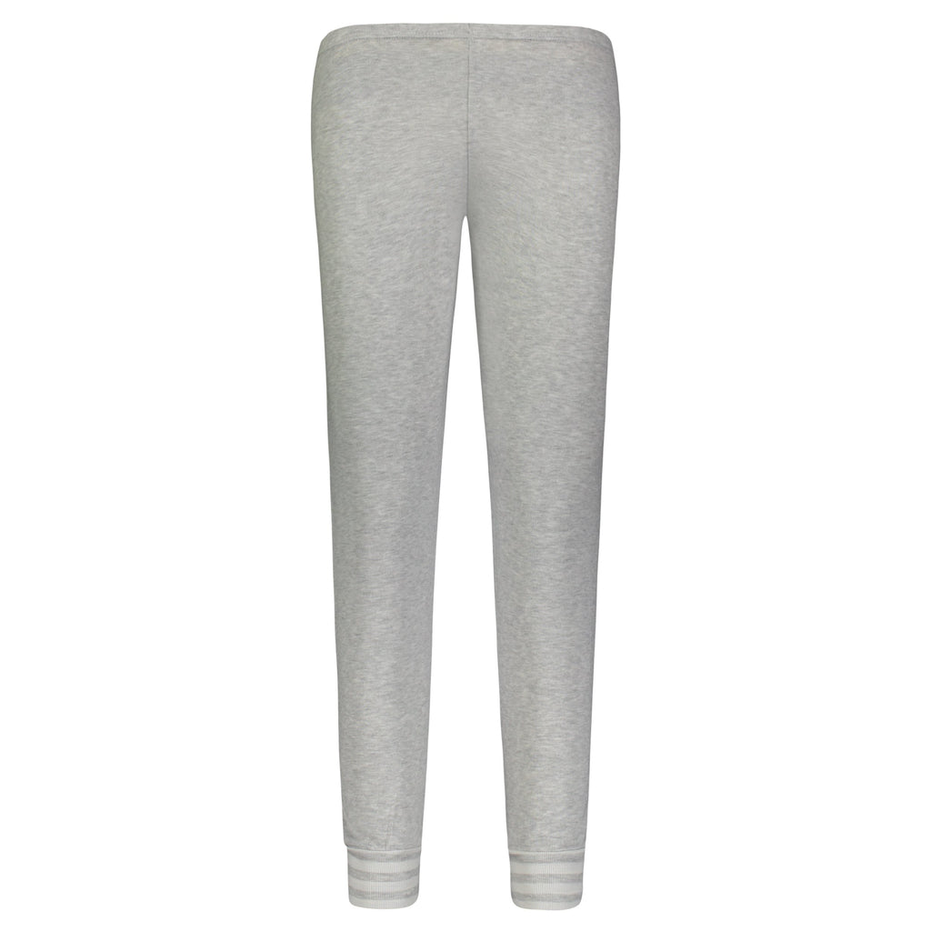 JOGGER Heather Grey w Stripe Cuffs Solid Knit Mid Rise