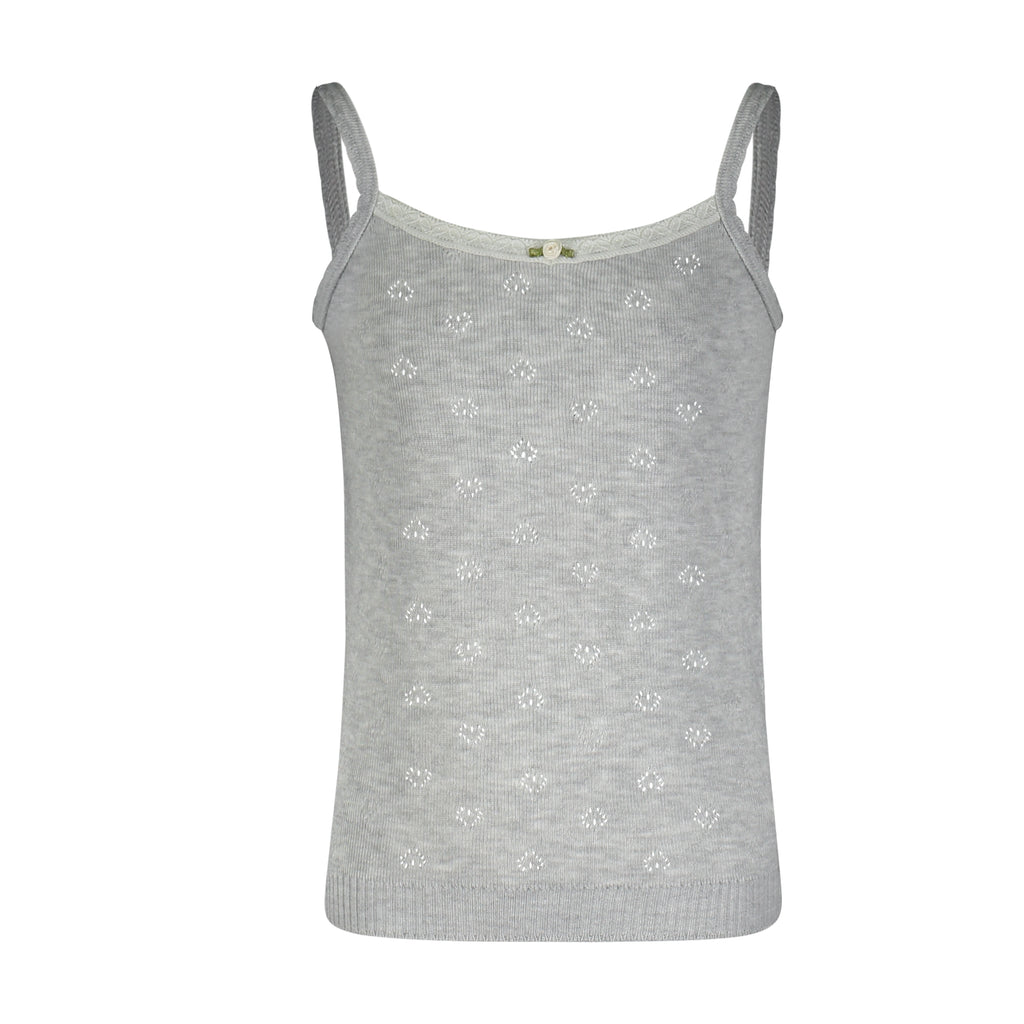 GIRLS CAMISOLE Heather Grey Hearts w Lace