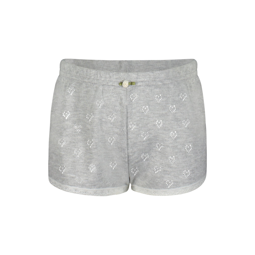 GIRLS SHORT Heather Grey Hearts w Lace