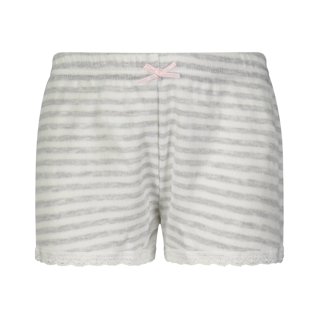 GIRLS PJ SHORT Grey Sailor Stripe w Lace Hems
