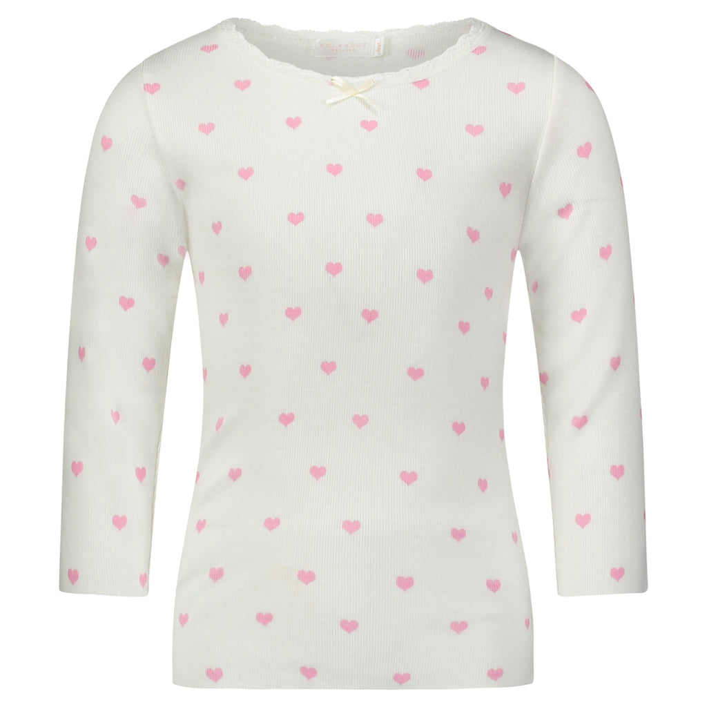 GIRLS Pink Hearts Print CREW LS w Lace
